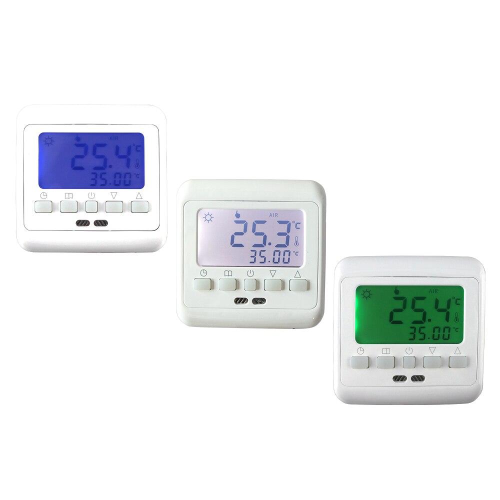Mecânica Digital Semanal Programável Aquecimento Piso Radiante Termostato Controlador de Temperatura Quente com LCD Backlight