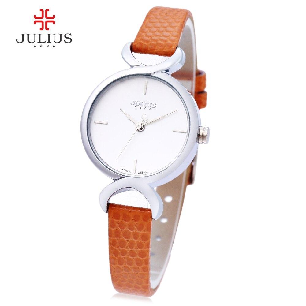 Julius mujeres reloj de cuarzo 3atm dial simple Delgado Cuero auténtico reloj