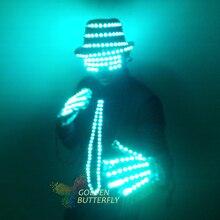 LED Clothing Glowing Clothes Hat Fashion Gloves Talent Show Luminous Men's Tie Suits Ballroom Mechanical Dance Dress Accessories