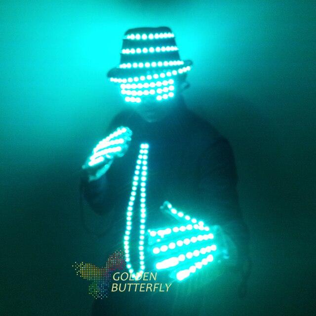 LED Vêtements Vêtements Lumineux Chapeau De Mode Gants de Talent Show Lumineux Hommes Cravate Costumes Salle De Bal Mécanique Robe De Danse Accessoires