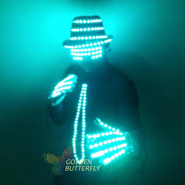 LED vêtements vêtements rougeoyants chapeau mode gants Talent Show lumineux hommes cravate costumes salle de bal mécanique danse robe accessoires