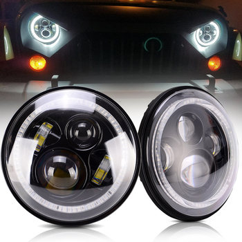 2PCS LED round Headlight with DRL Amber Turn Signal Hi/Lo Beams car spot light for offroad 7 Inch 60W