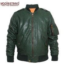 M86 m86 jaqueta de vôo dos homens jaqueta de couro genuíno jaqueta de bombardeiro preto vinho vermelho verde do exército plus size 097
