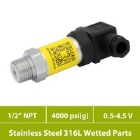 4000 psi gauge  0.5 4.5V pressure sensors  general industry  pneumatic and hydraulic  1 2 in NPT thread + ss 316L wetted parts