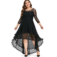Plus Size High Low Lace Dress Women With Cami Dress Clothes Fall Spring See Throught O Neck 3/4 Sleeves Midi Dresses Vestidos