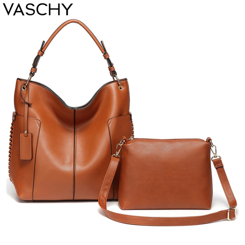 VASCHY Women Handbag Fashion Tote Bags for Women Two Pieces Set Hobo Bag Soft Faux Leather