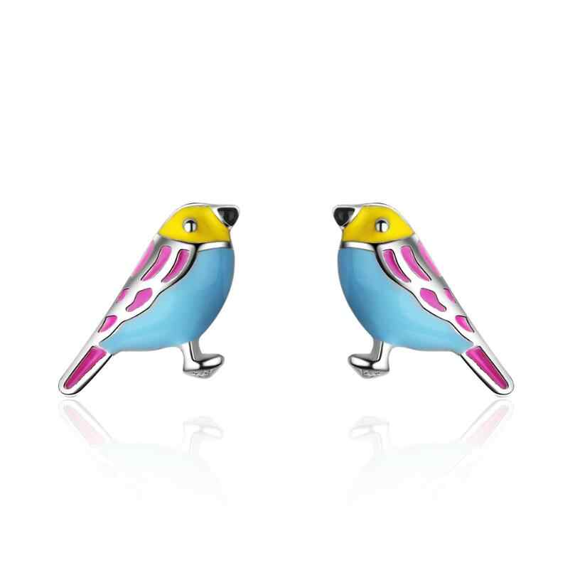 New Sweet Drop Glaze Color Little Bird Earrings For Women Trend Creative 925 Sterling Silver Jewelry Party Gift Brincos SAE115