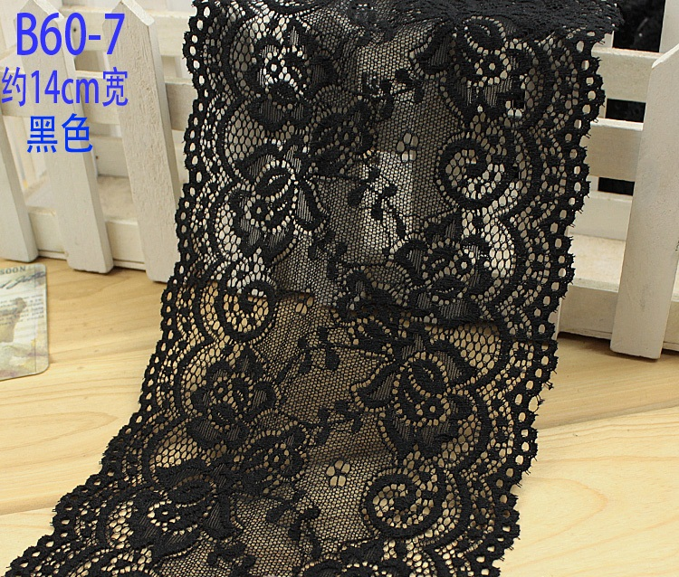 14cm wide 4mts/lot, Black/Off white Garment accessories exquisite color lace quality fabric lace with elastic lace Z1321-04