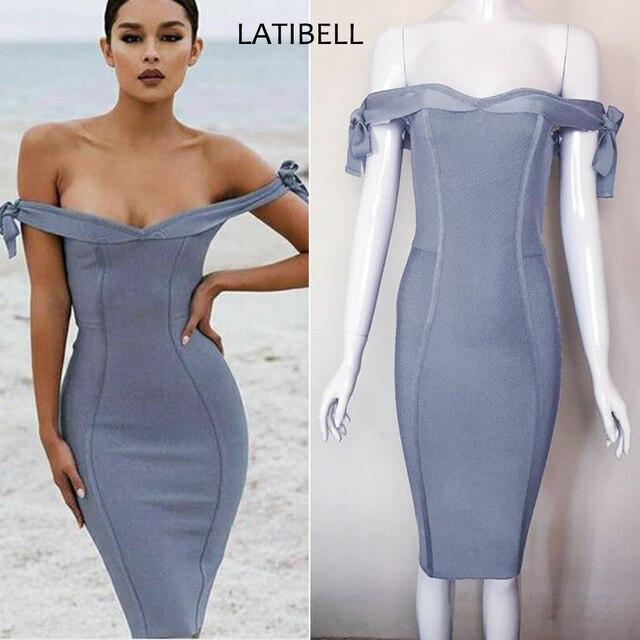 d35ef684093 babatique 2017 elegant grey off shoulder bandage dress vetsidos de fiesta  sexy women summer dresses grey party gown midi dress