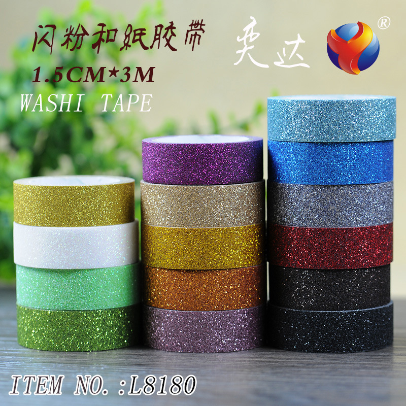 Glitter Washi Tape Paper Self Adhesive Stick On Sticky Craft Decorative DIY home garden Label Craft Decorative 22 Colors JD25