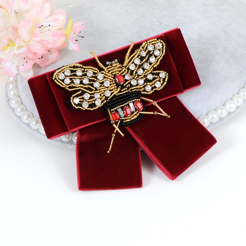 ZHINI Vintage New Woman Brooches Big Ribbon Bee Bowknot Shirts Bow Tie Long Tassel Pearl Lace Collar Accessories Fashion Jewelry