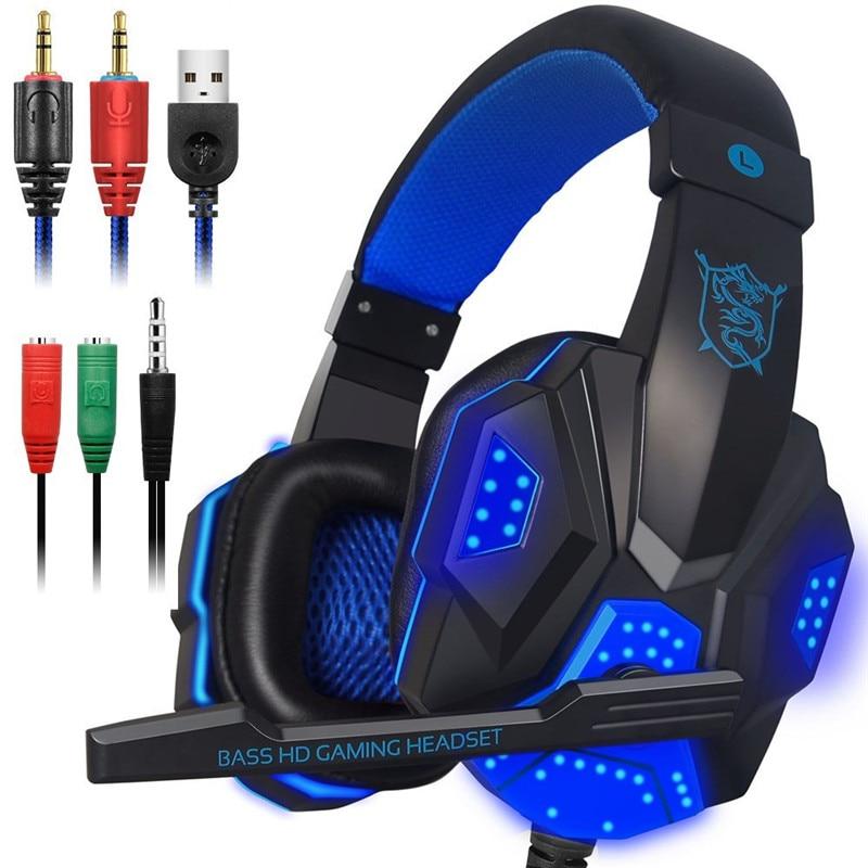 Auriculares para juegos estéreo para Xbox uno PS4 PC sonido envolvente sobre la oreja de Auriculares auriculares con micrófono cancelación del ruido LED luces auriculares