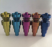 10mm & 14mm 18mm Adjustable GR2 Domeless colorful Titanium Nail for Glass Bongs Hookahs Water pipe Smoking Pipes