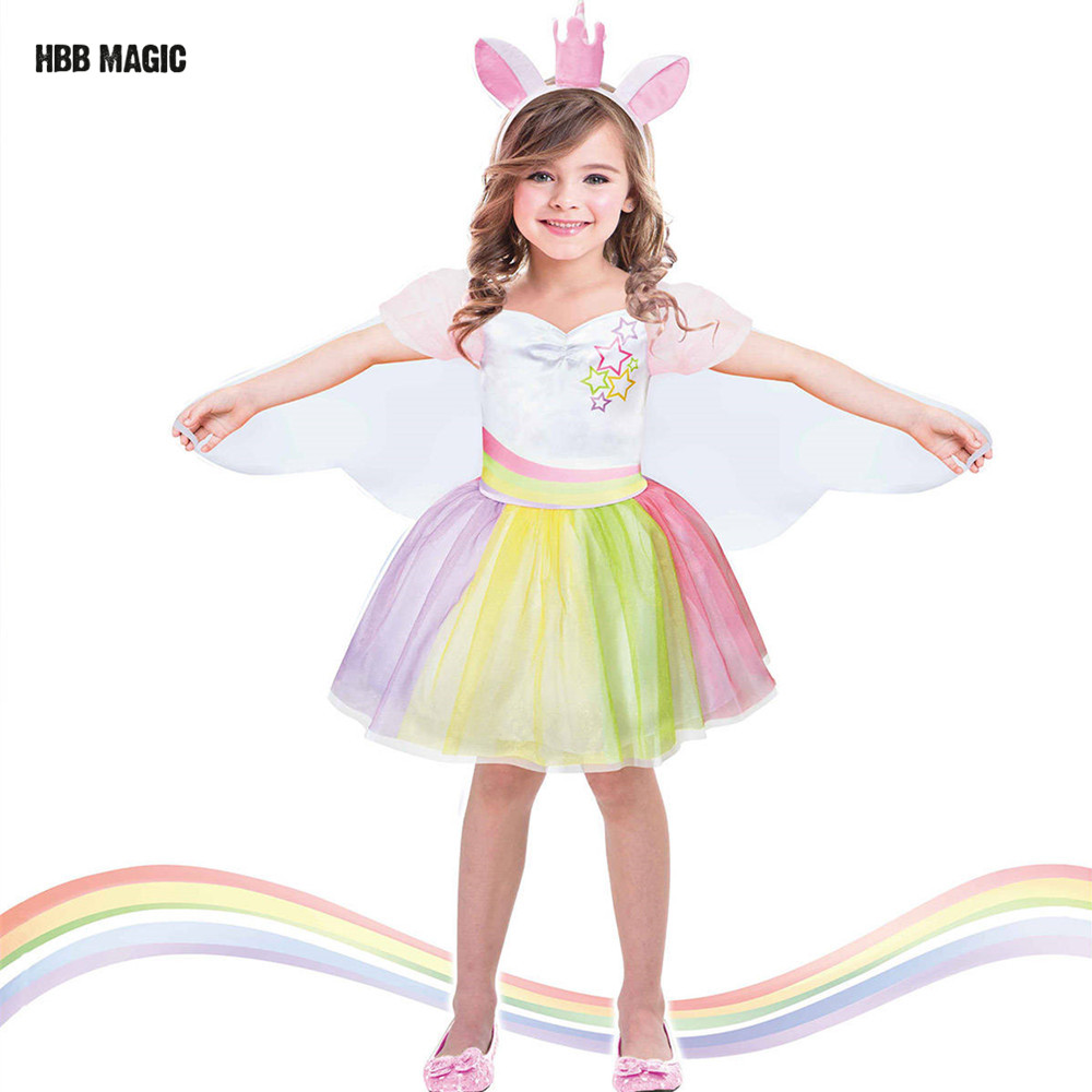 Creative Dress Up As Dance Unicorn Tutu Dress Kids Cosplay Magical Fairy Wings Costumes Cute Girl Rainbow Party Princess Dress hot free shipping magical girl small round cosplay sakurakyouko wig