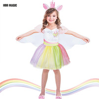 Creative Dress Up As Dance Unicorn Tutu Dress Kids Cosplay Magical Fairy Wings Costumes Cute Girl