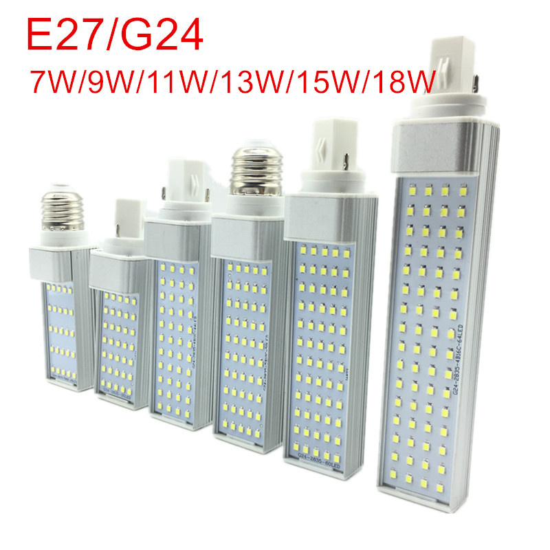 New Arrived 7W 9W 11W 13W 15W 18W E27 G24 LED Corn Bulb Lamp Light SMD 2835 Spotlight 180 Degree AC85-265V Horizontal Plug Light