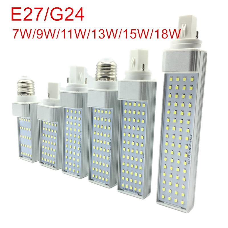 New Arrived 7W 9W 11W 13W 15W 18W E27 G24 LED Corn Bulb Lamp Light SMD 2835 Spotlight 180 Degree AC85-265V Horizontal Plug Light