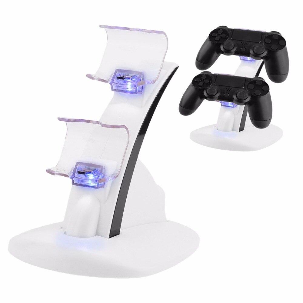 LEVOU Micro Controlador Duplo Carregador Titular 2 LED Micro USB Rápido Carregador de Estação de Carregamento Base Dock para PS4 Controlador