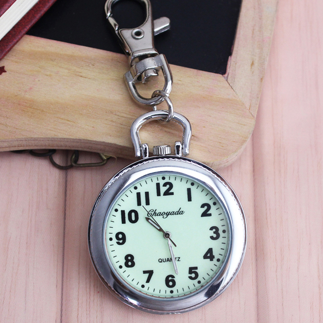 2018 CYD women men kids pocket watch big for students test quartz clock key chai