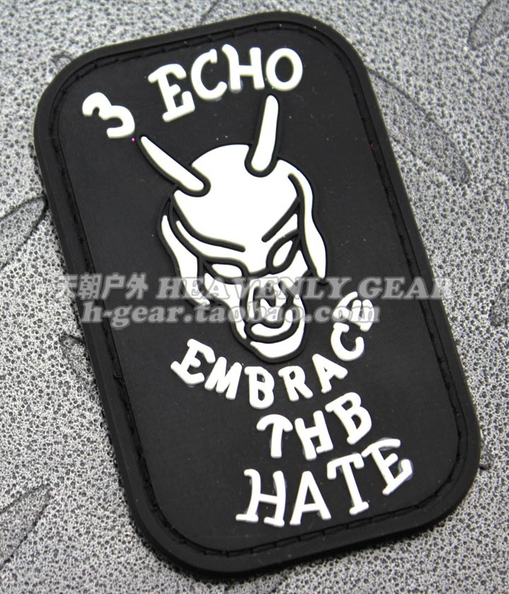 SEAL Team 3 ECHO EMBRACE THE HATE PVC Velcro Patch Badge-in