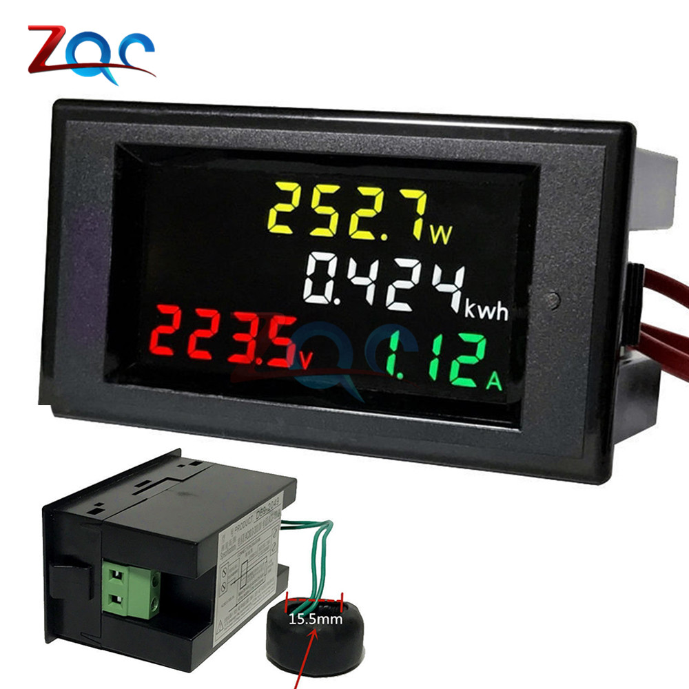 AC 100A 200~450V 380V Digital Voltmeter Ammeter Wattmeter Watt Amps Volt Voltage Current Power Energy Tester Meter