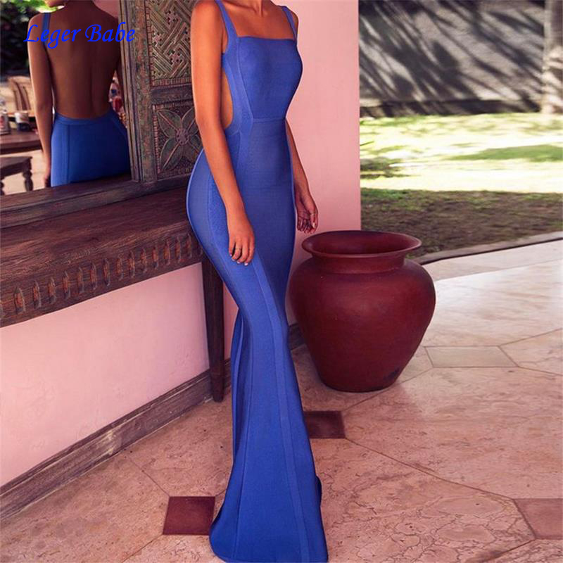2019 New Arrivals Celebrity Evening Party Maxi Bandage Dress Sexy Backless Elegant Summer Long Dress For Women Bodycon Vestidos