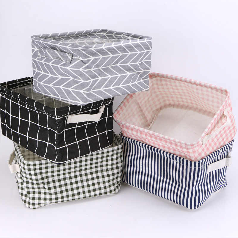 2019 Folding Desktop Storage Box Cute Printing Toys Organizer Cotton Linen Sundries Storage Basket Cabinet Underwear Storage Bag