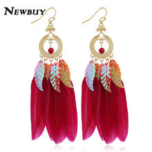 NEWBUY 2018 Trendy Long Feather Dangle Earrings For Women Gold Color Vintage Bohemian Leaves Drop Earrings Party Jewelry(China)