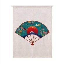 XIAOKENAI 85X120cm 85X90cm Linen Cotton Cartoon Lucky Cat Animal Doorway Curtain Tube Left And RightOpen Decor Curtains