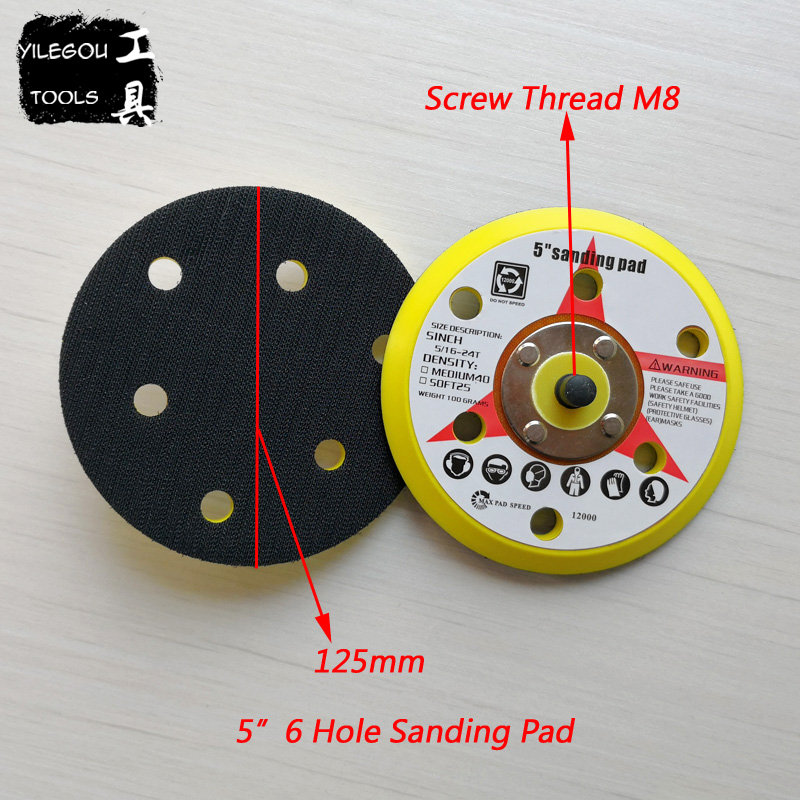 2 Pieces 5 Inchs 6 Hole Flocking Sandpaper Sucker 6 Hole Polishing Disc. 125mm Sanding Pad. 5