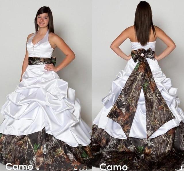 2015 Plus Size Camo Wedding Dress Halter Sash Bow Empire Vestido De ...