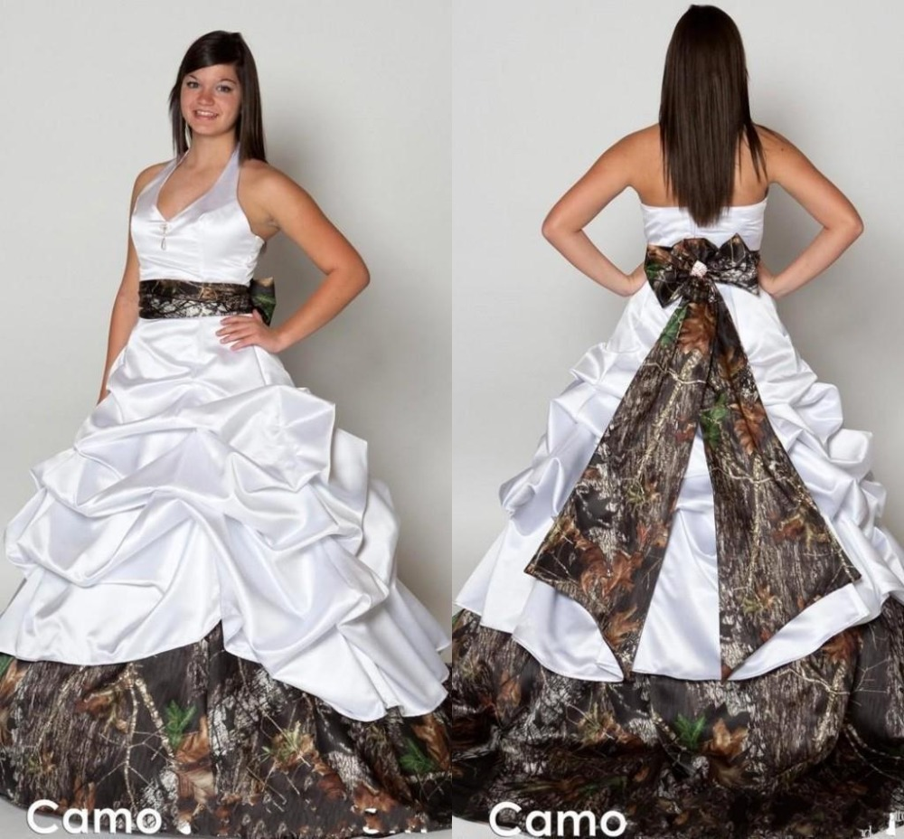 white camo wedding dress camouflage wedding dress Camo Ball Gown shown in White Snowfall True Timber and White Net with rhinestone trim