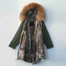 Free shipping women / men winter Real rabbit fur lining natural color raccoon fur collar long jacket Mr Mrs coats furs parka