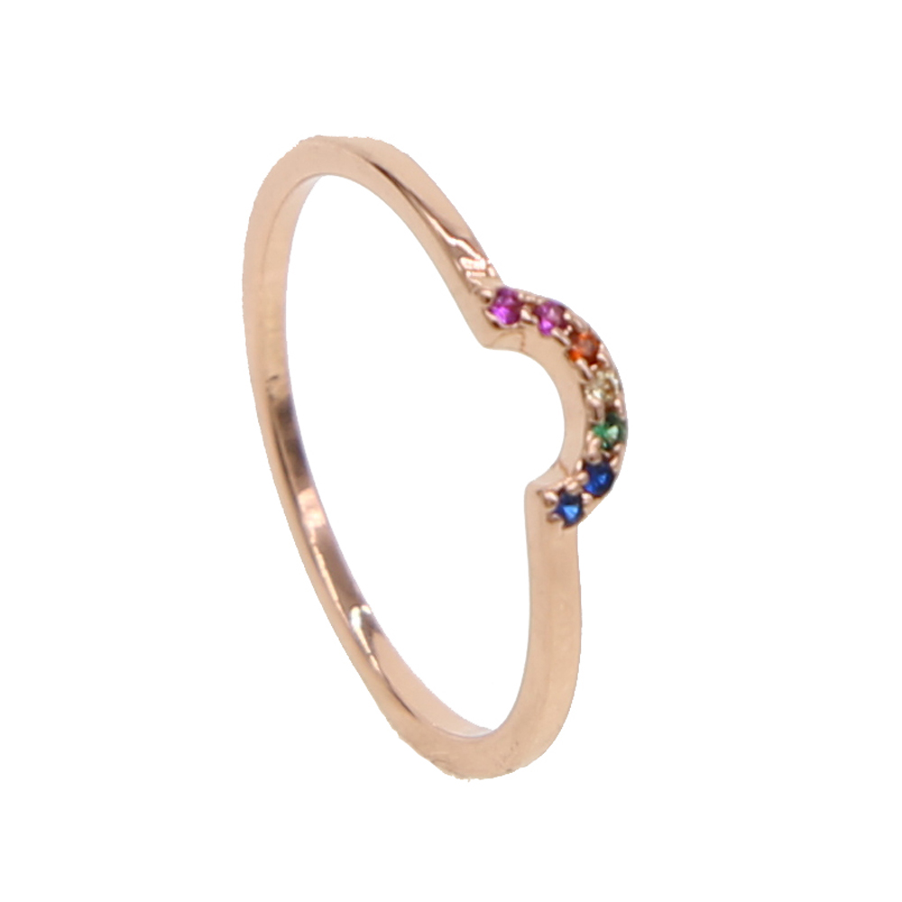 In 2019 Tiny Cute Half Moon Rings For Women Simple Crescent Moon Knuckle Midi Ring Female Jewelry Christmas Colorful Cz Ring Gifts Fashionable Style;