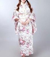 Vintage Japanese Women Satin Kimono Yukata Haori With Obi Evening Dress Performance Costume Classic Asia Clothing one size