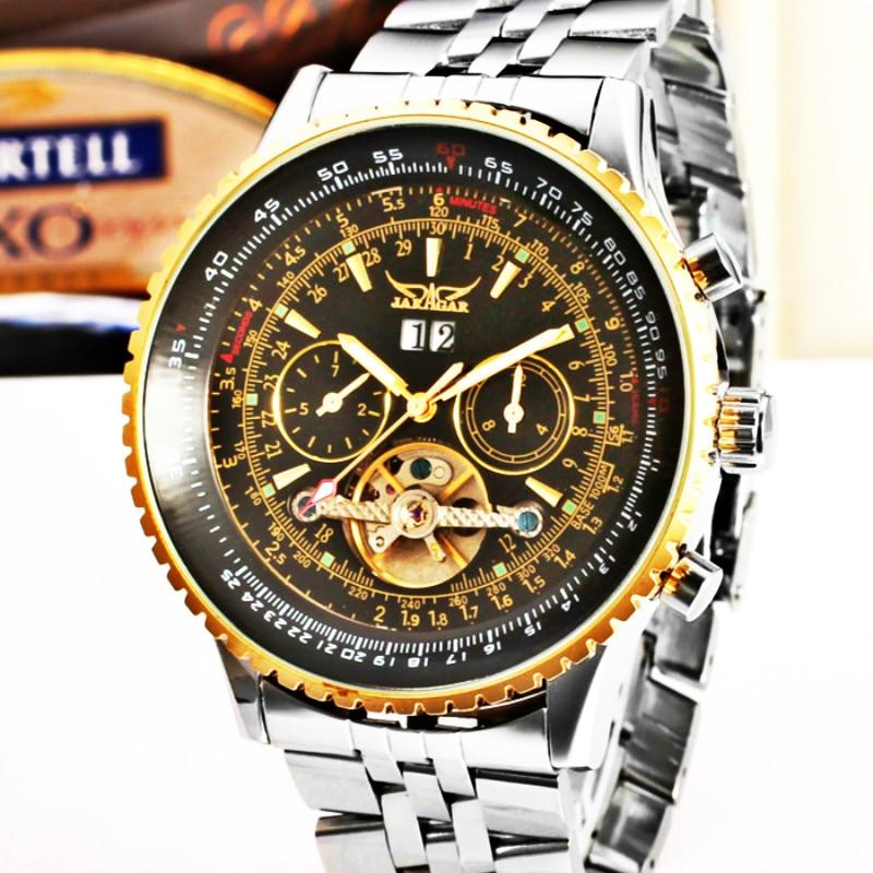 JARAGAR Brand Men Watches Automatic Mechanical Tourbillon Watch Male Full Steel Big Dial Business WristWatch Relojes Hombre 2018