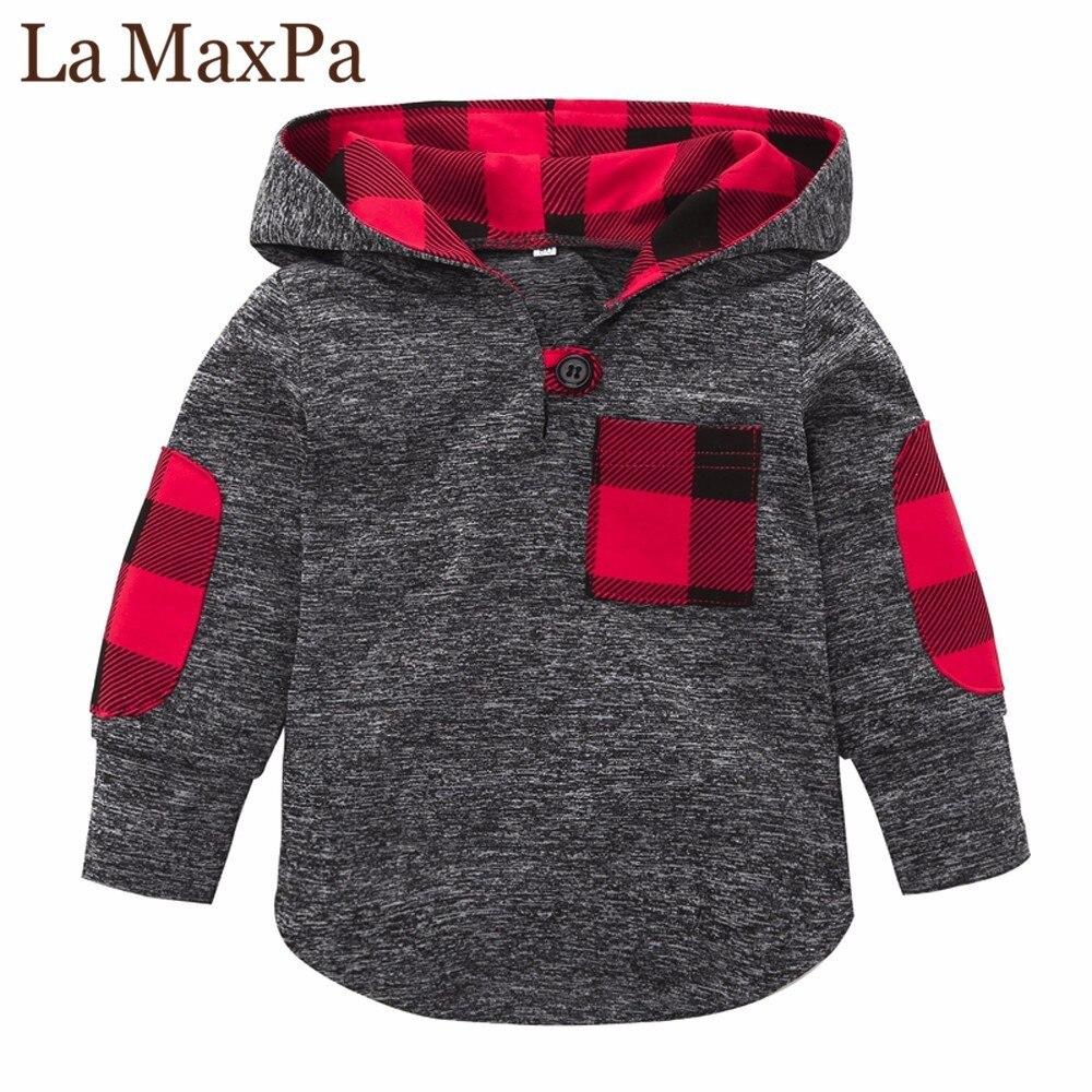 High quality Toddler Kid Baby Boys Girls Plaid Hoodie Pocket Long Sleeve Sweatshirt Pullover Tops Fashion Warm Clothes Gray