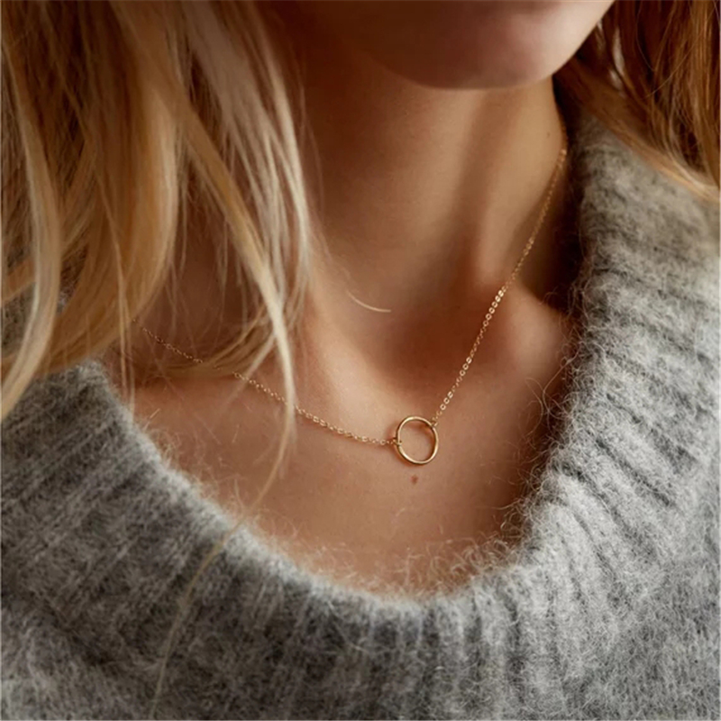 Gold Circle Necklace Handmade Jewelry Custom Gold Filled Choker Pendants Collier Femme Kolye Collares Womens Necklaces Jewelry-in Pendant Necklaces from Jewelry & Accessories