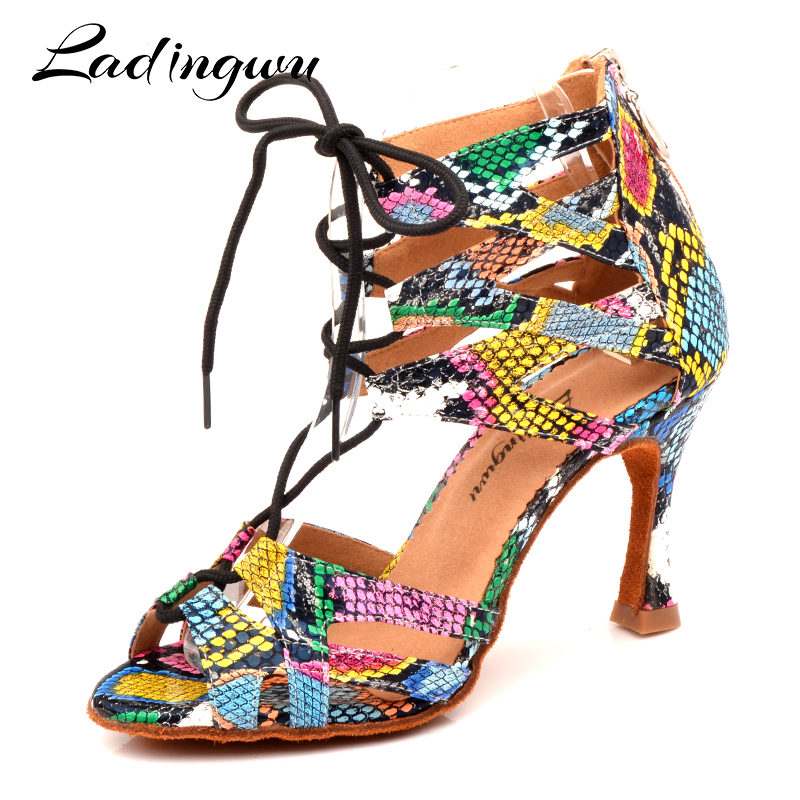 Ladingwu Dance Shoes Women's Latin Shoes Dance Boots Trend Snake Texture Salsa Dance Shoes Wide And Narrow Adjustment Shoelace
