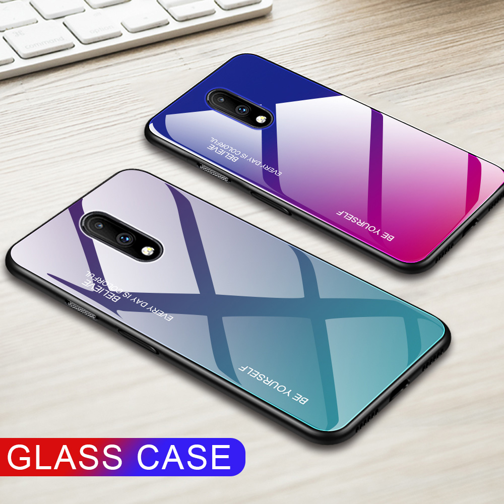 For Oneplus 7 Aurora Gradient Tempered Glass Case Shockproof Hard Back Cover case