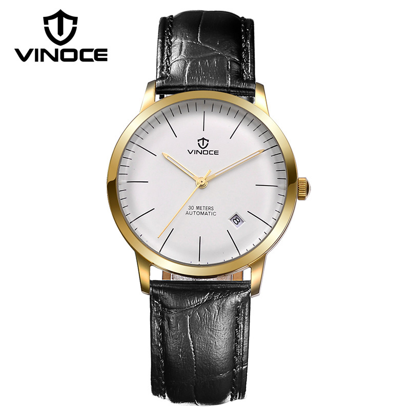 VINOCE 2016 Brand Luxury Business Watch Men Genuine Leather Band Mechanical Wristwatches Fashion Waterproof Relogio Masculino