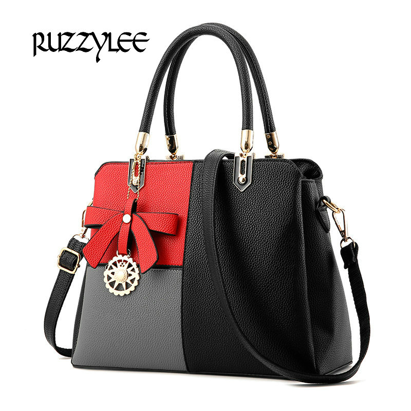 ФОТО New 2017 Patchwork Women's Shoulder Bags Women Leather Handbag Female Satchels Ladies Brand Womens Crossbody Bags bolsos mujer