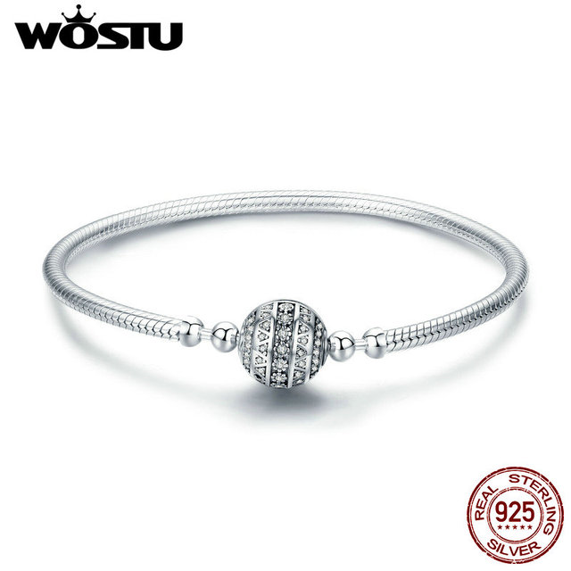 WOSTU Настоящее серебро 925 проба сверкающий шар браслет и браслеты для Для женщин Подвеска своими руками фирменные бусины украшения подарок ...