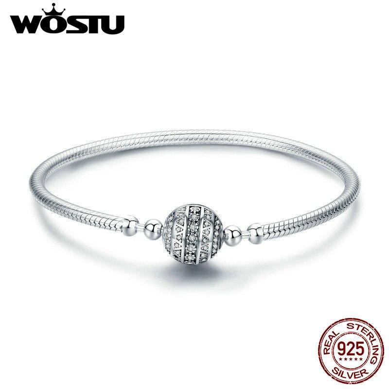 WOSTU Настоящее 925 пробы Серебряный сверкающий шар браслет и браслеты для женщин подходят DIY талисманы бусины оригинальные ювелирные изделия