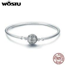 Wostu real 925 sterling silver sparkling bola pulseira & pulseiras para as mulheres ajuste diy encantos contas jóias originais presente fib062