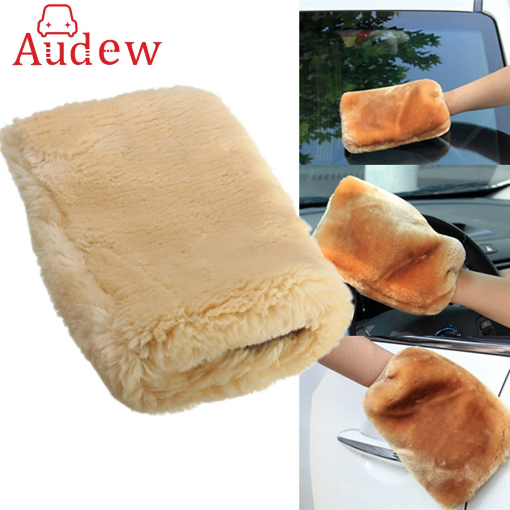 1Piece 24 X 16cm Lambswool Wash Mitt Soft Sheepskin Car Cleaning Gloves