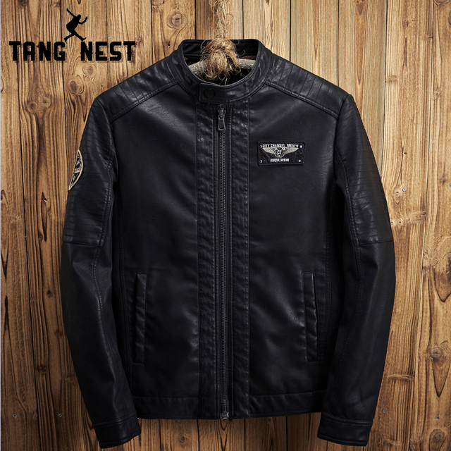 Tangnest 2018 Fashion Design Leather Jacket Plus Velvet Slim Warm