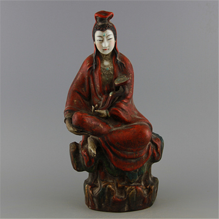 Antique QingDynasty porcelain statue,Red Wishful buddha sculpture,painted crafts,Decoration,Collection&Adornment,Free shipping