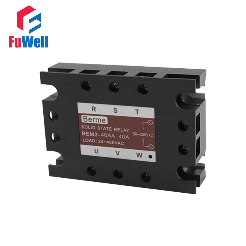3-phase Solid State Relay SSR AC-AC 40AA Input 80-250V AC Load 24-480V AC original 3 phase ac solid state relay ssr 15a 80 250vac normally open electronic switch