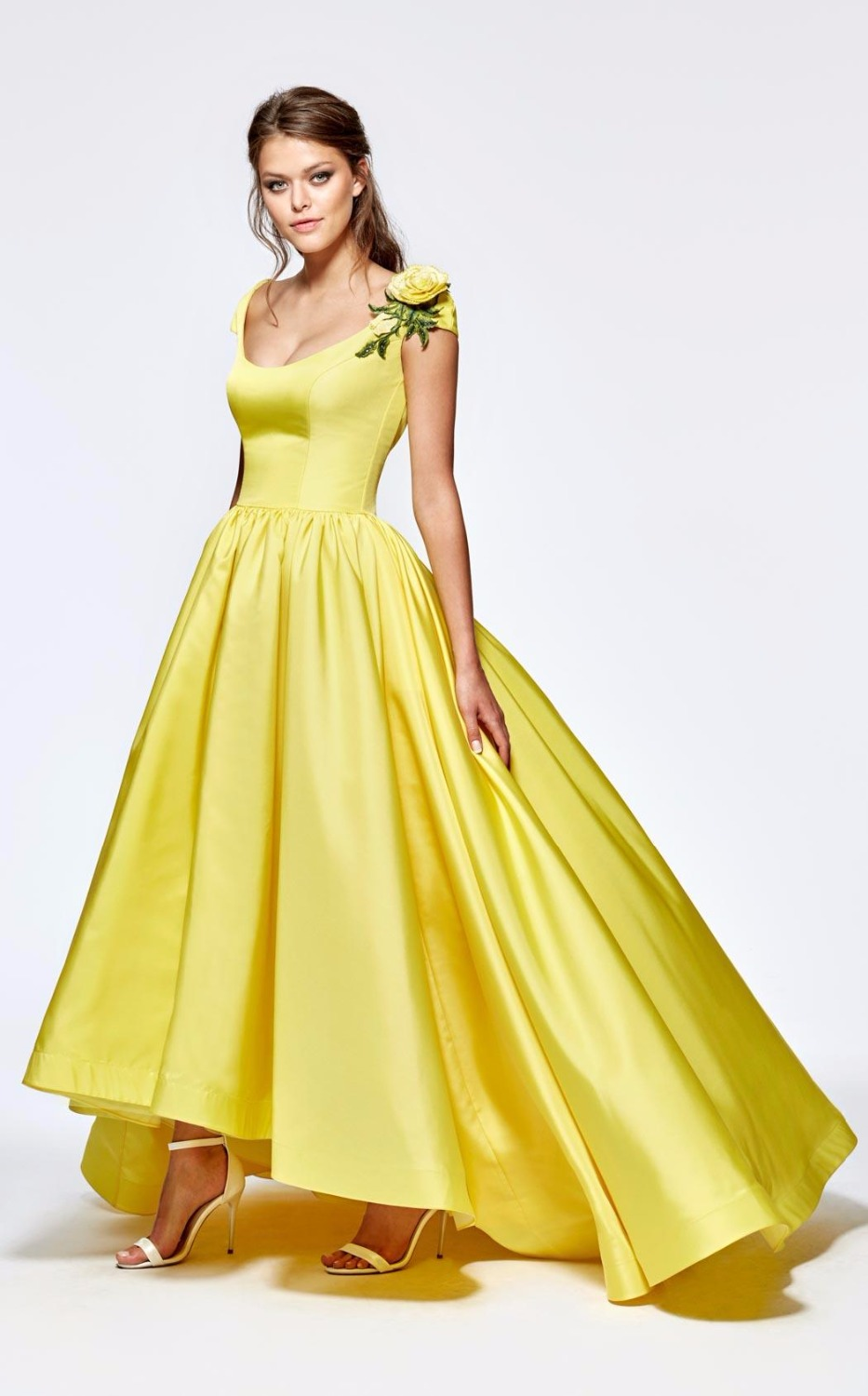 Vintage Bright Yellow Prom Dress 2017 Hi Low Homecoming